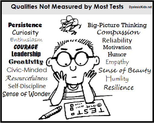 cartoon … Qualities not measured by most tests: persistence curiosity enthusiasm courage leadership creativity civic-minded resourcefulness self-discipline sense-of-wonder big-picture-thinking compassion reliability motivation humor empathy sense-of-beauty humility resilience … select to view full-size